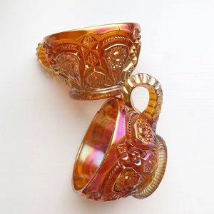 Other - Vintage Teacups Marigold Stars Carnival Glass